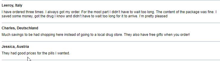 Online Pills User Comments