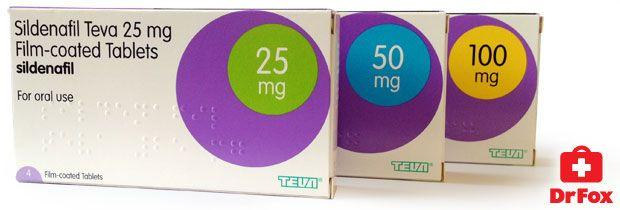 Sildenafil from a pharmaceutical company; Teva, in various doses
