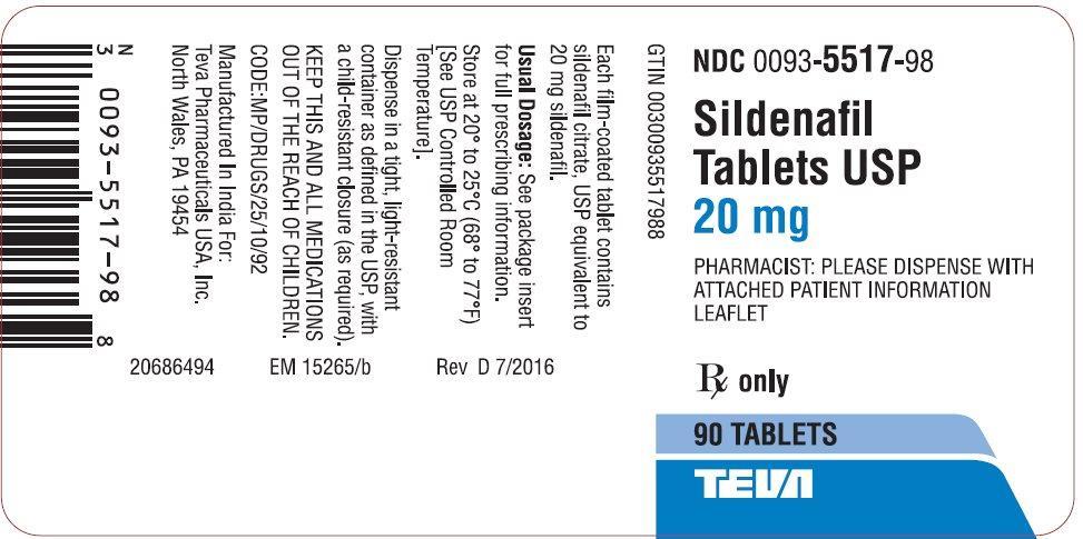 TEVA Sildenafil 20mg Label