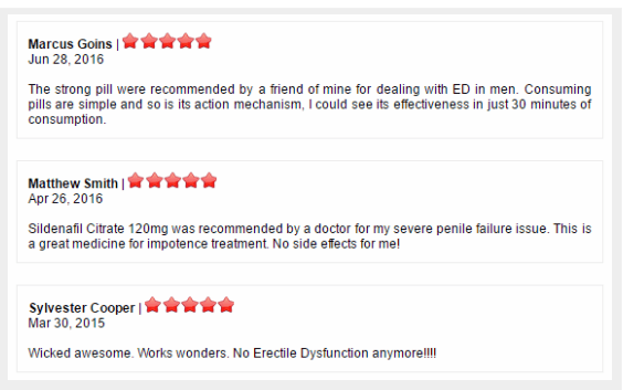 Comments by patients who used Fildena 120mg