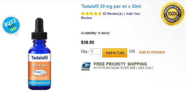 According to one price information for Tadalafil 30 mg, one vial containing 30 mg/mL of the liquid Tadalafil costs